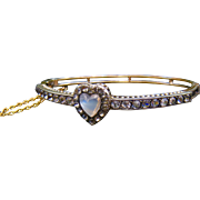 Rare Antique Fine Sterling Vermeil Paste and Moonstone Heart Bracelet - STUNNING!