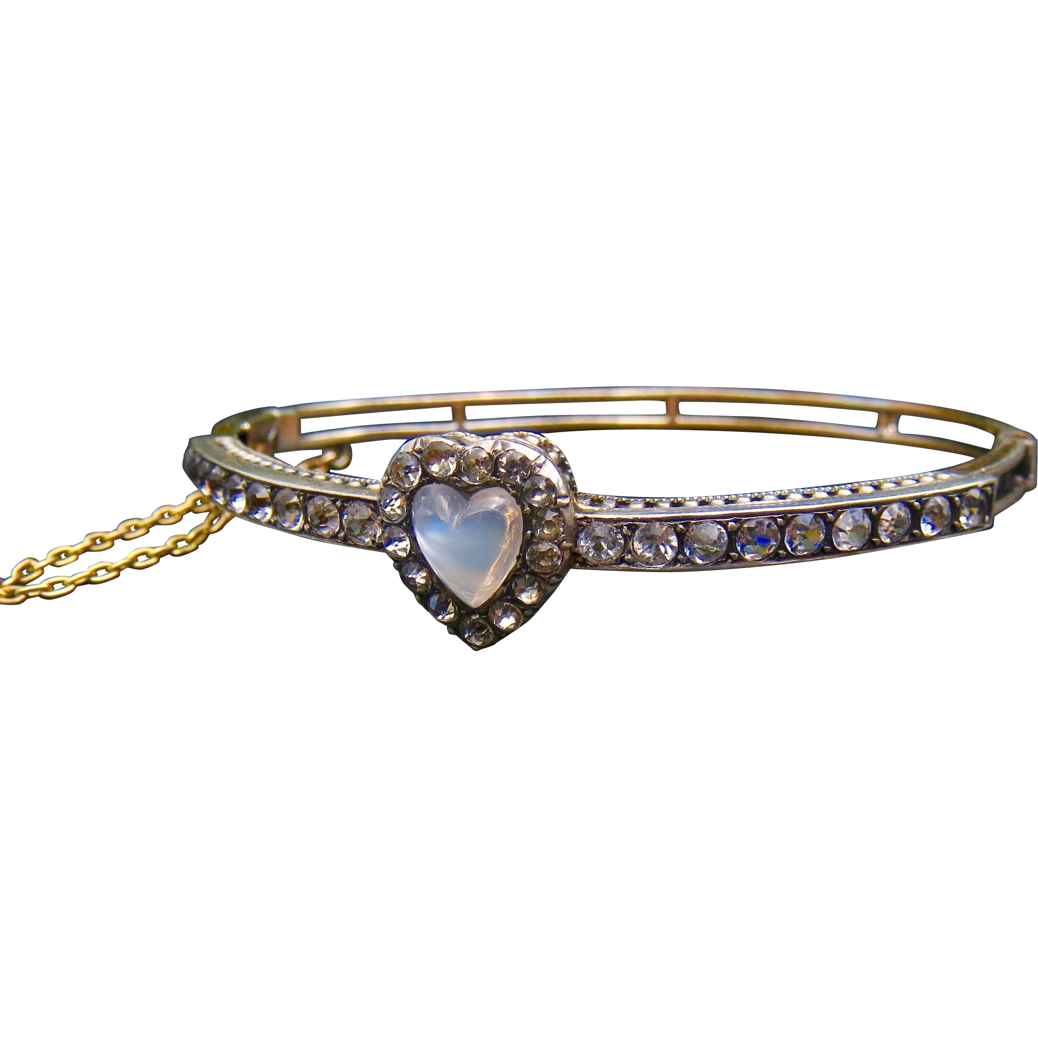 Rare Antique Fine Sterling Vermeil Paste and Moonstone Heart Bracelet - STUNNING!