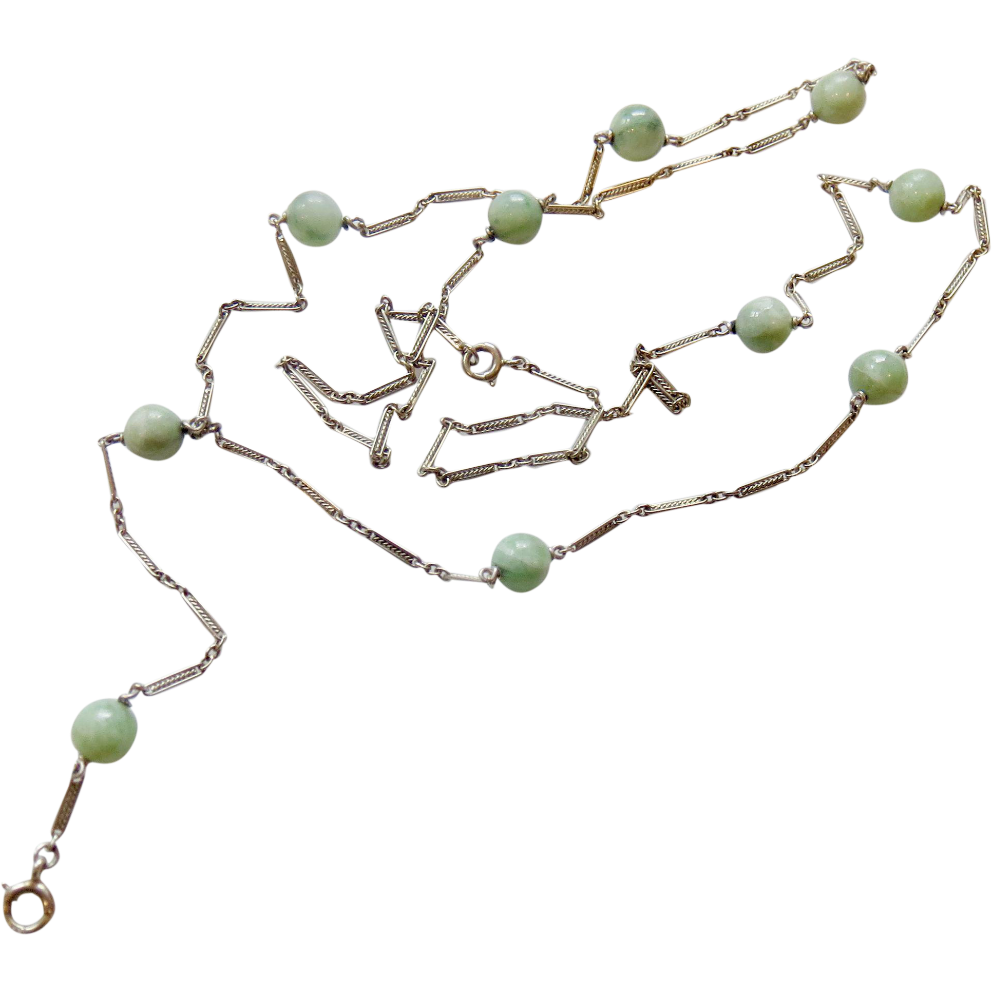 18k White Gold and Jade Bead Lorgnette or Watch Chain