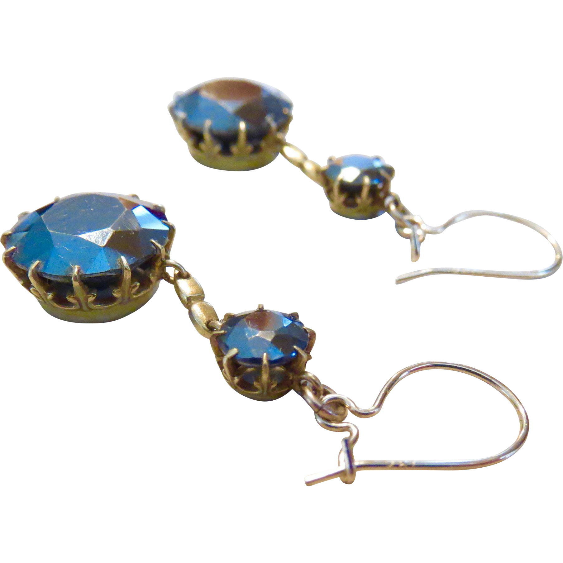 Antique 14k Faceted Hematite Double Drop Earrings