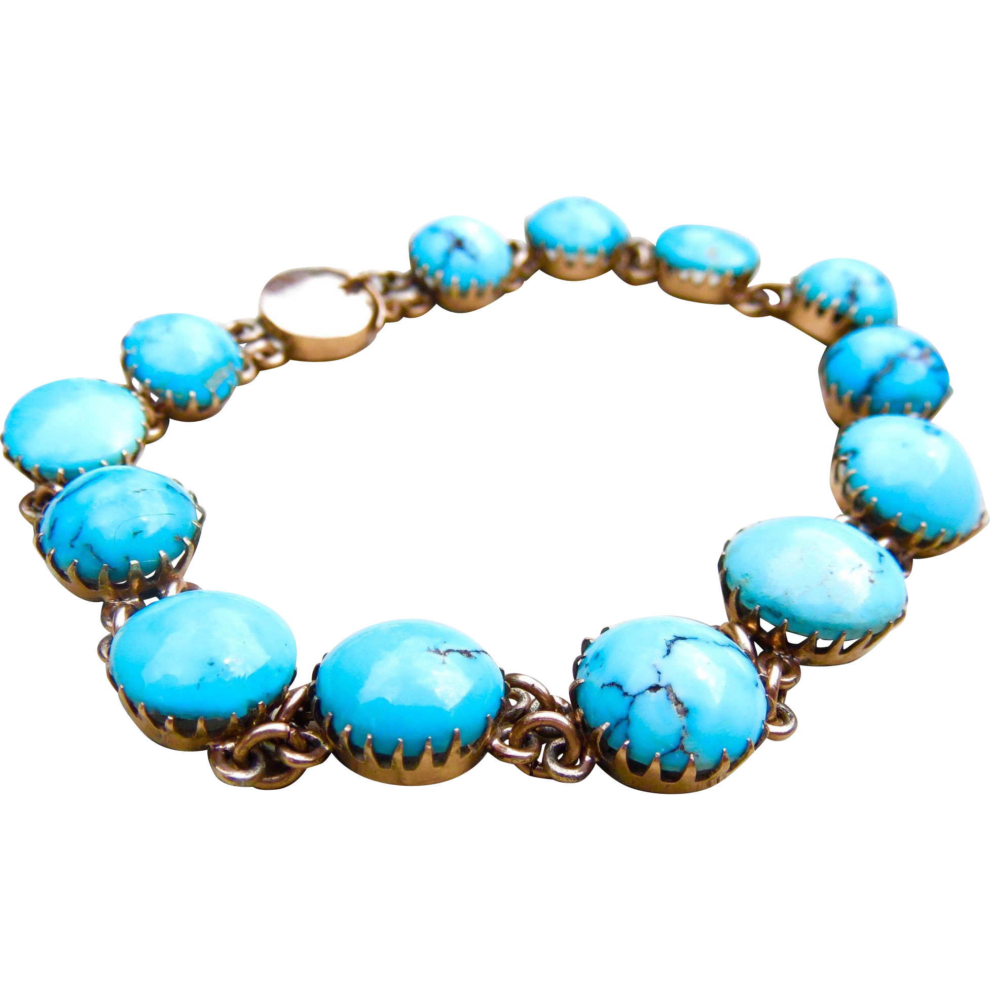 Antique 15K Rose Gold Natural Turquoise Claw-Set Bracelet