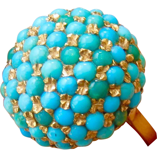 Vintage 14k Persian Turquoise Pave Dome Bombe Ring - 6.5