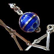 Rare David Andersen Sterling Blue Enamel Orb Pendant with Original Bar Chain - Signed