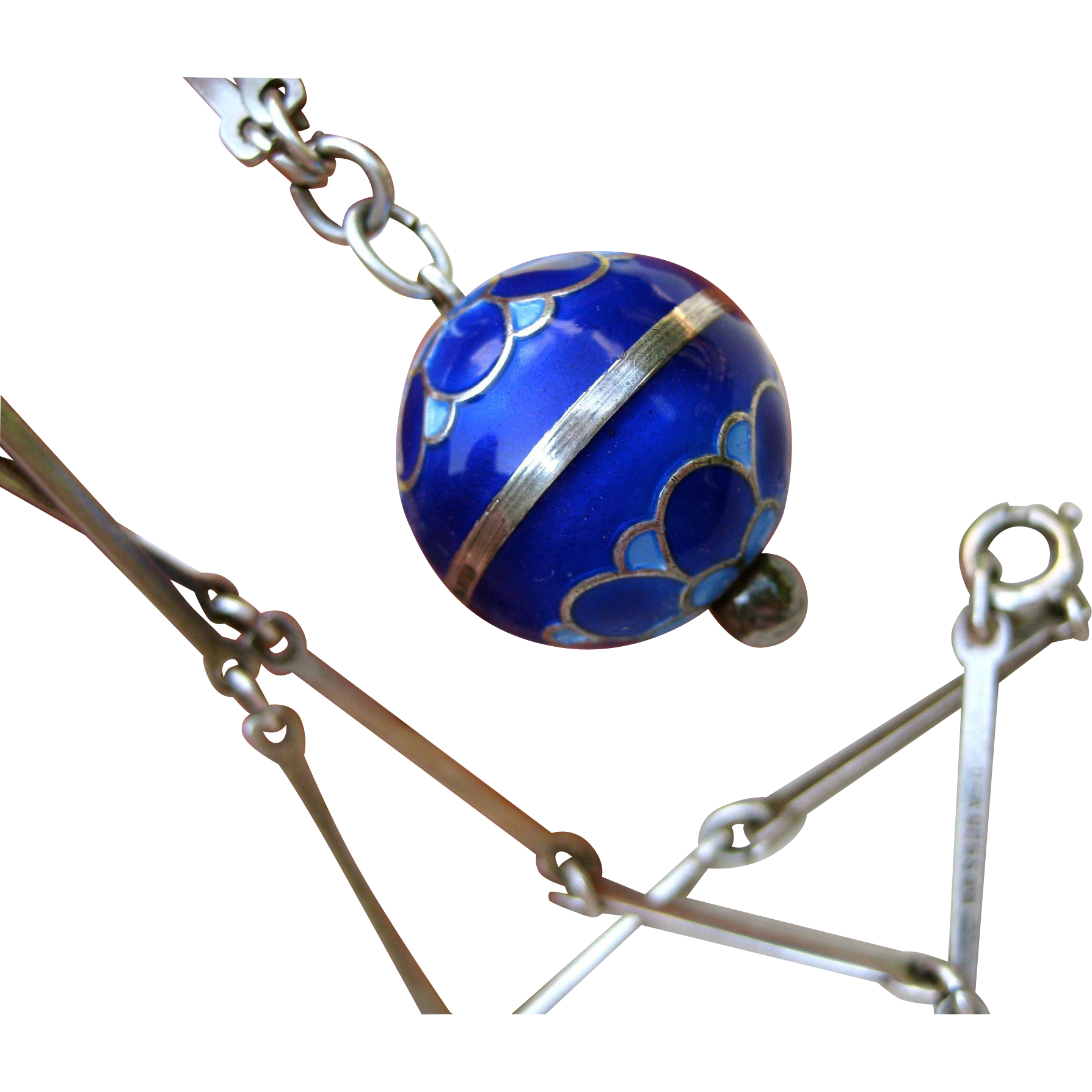 Rare David Andersen Sterling Blue Enamel Orb Pendant with Original Bar Chain - Signed