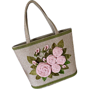 JR Florida Burlap Pink Velvet Rosette Purse - NEW OLD STOCK - MINT
