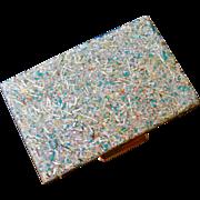 50s Confetti Lucite Mirror Compact Pill Case