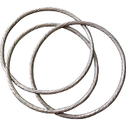 Mid-Century Silver Aluminum Entwined Bangle Trio
