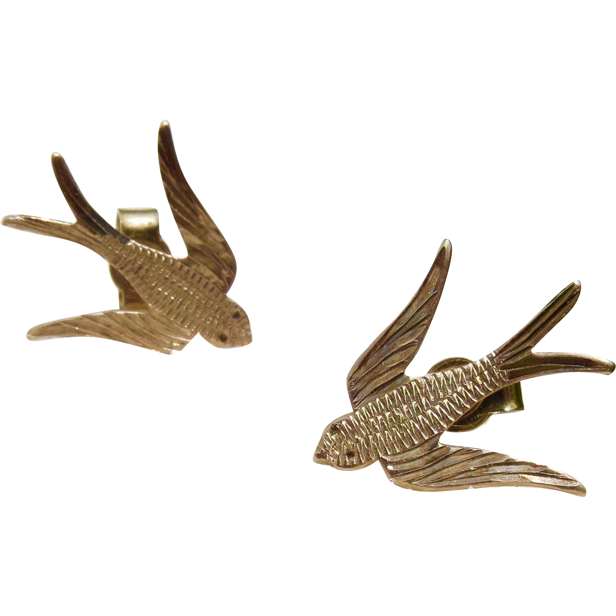 Vintage 9CT Swooping Swallow Earrings in Rose Gold