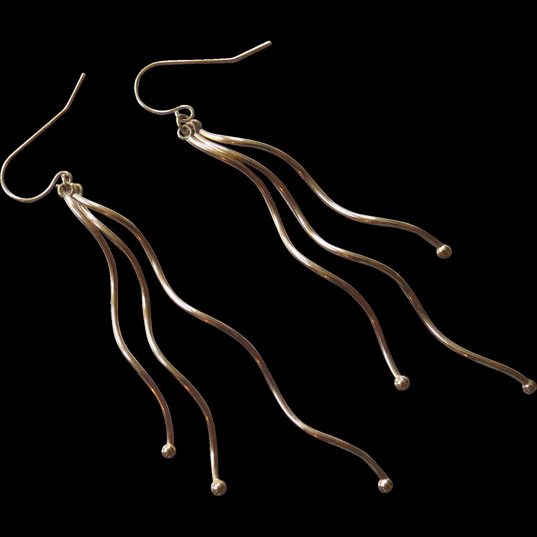 """14K Gold Curly Drop Earrings 3"""""""