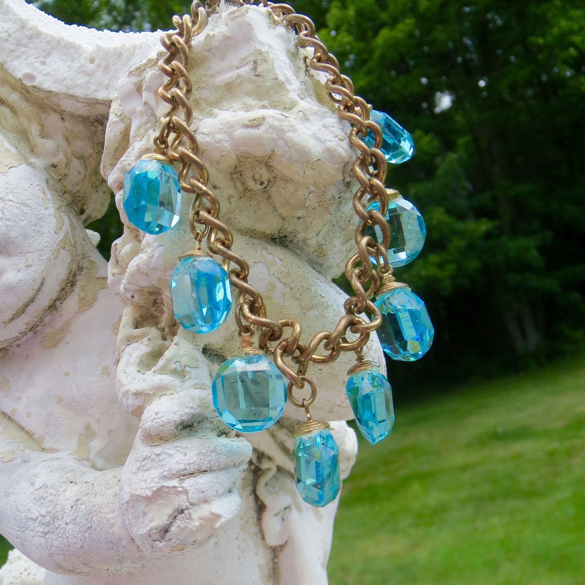 1950s Aqua crystal Cha Cha Charm Bracelet