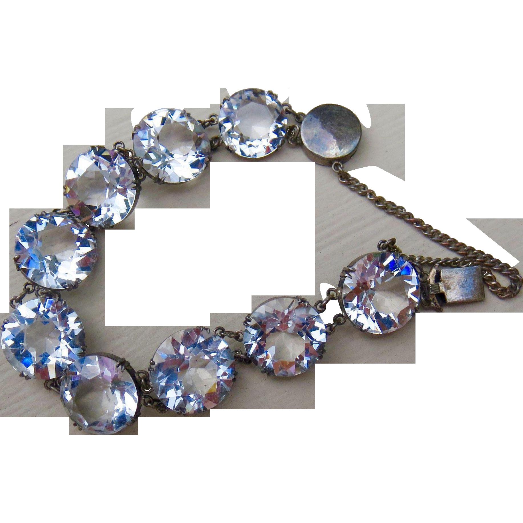 Gorgeous Japan Art Deco Large Round Faceted Rock Quart Crystal Sterling Bracelet Over 60 carats!