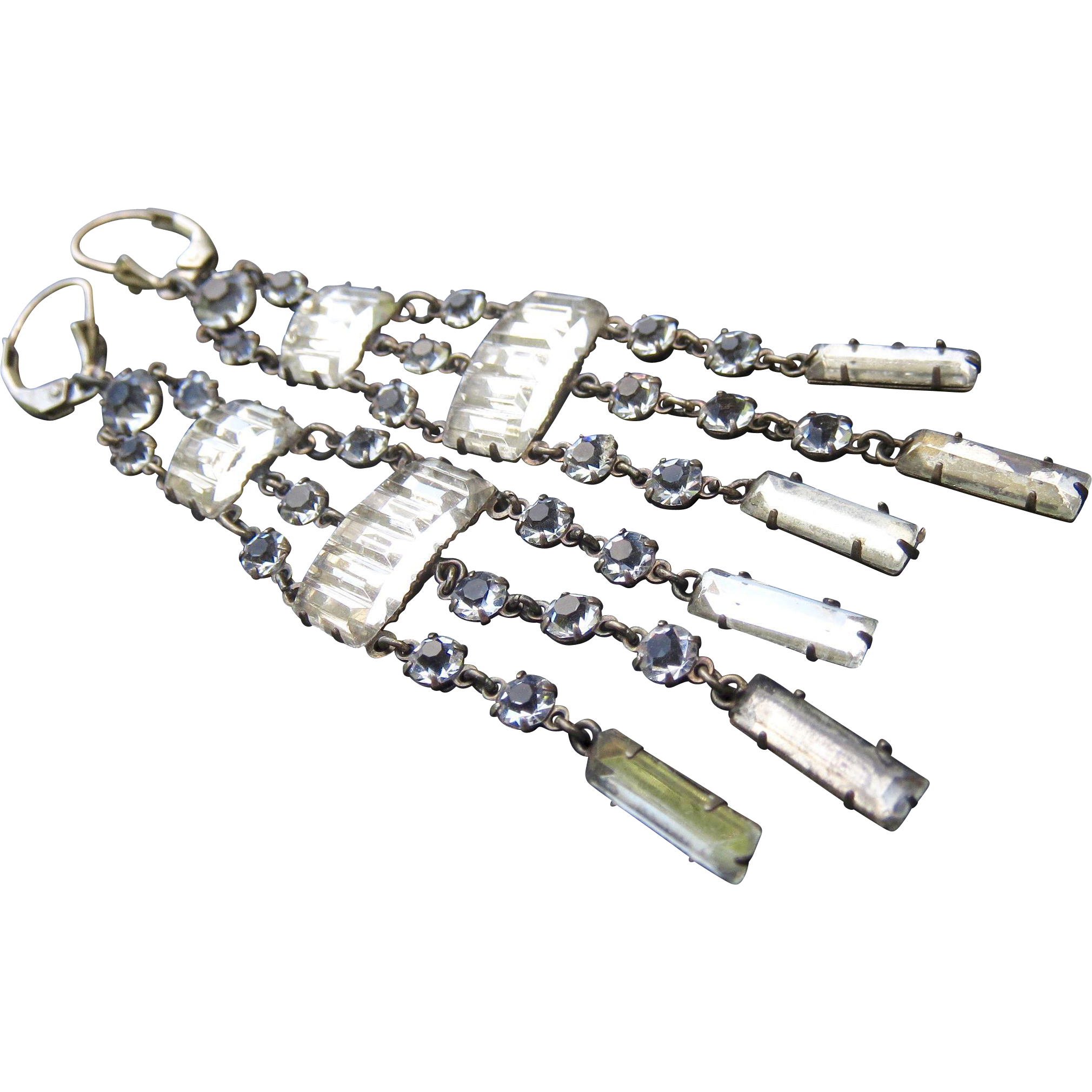 Rare Antique Sterling Paste Crystal Long Flapper Earrings - Chandelier Shoulder Dusters!