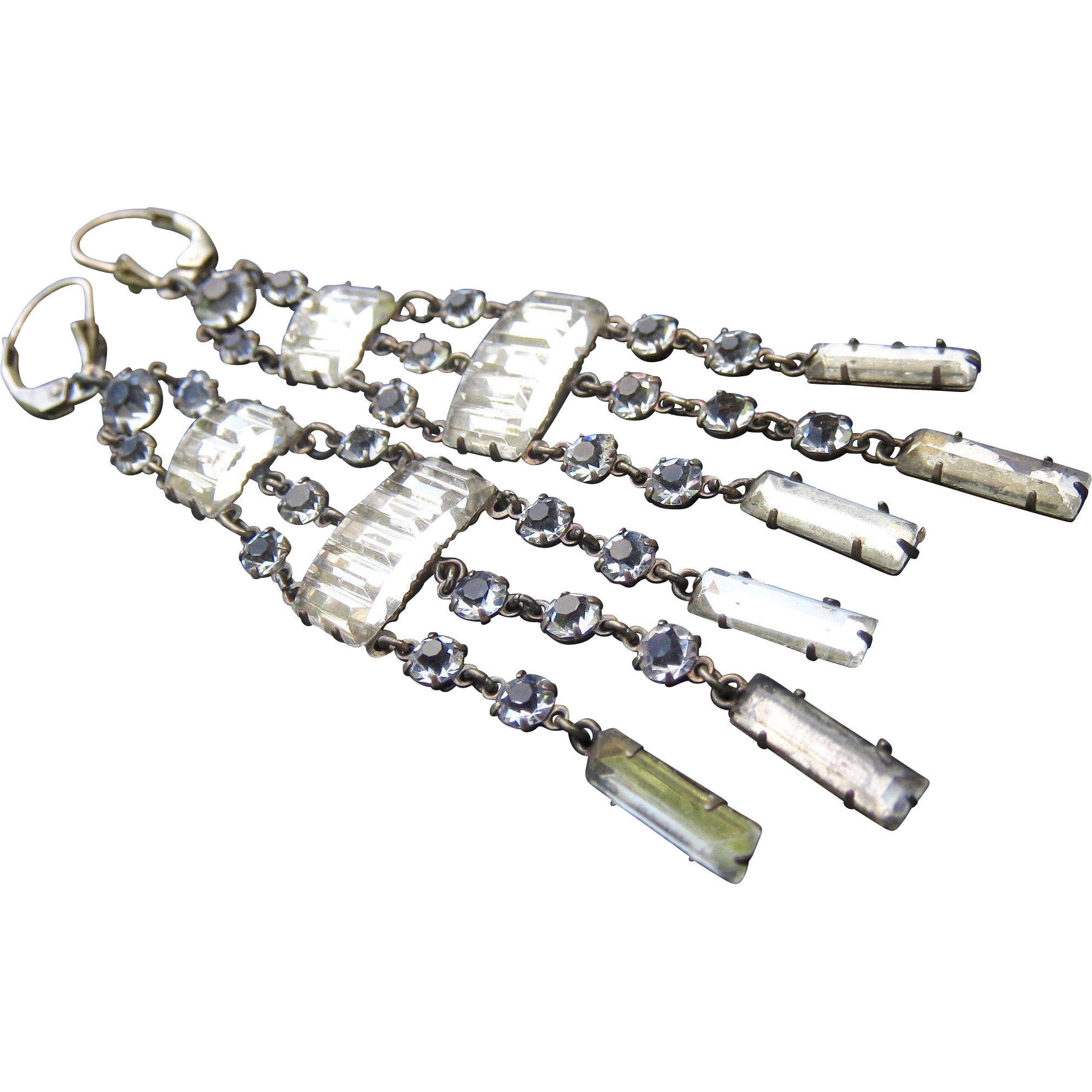 Rare Antique Sterling Paste Crystal Long Flapper Earrings - Chandelier Shoulder Dusters!