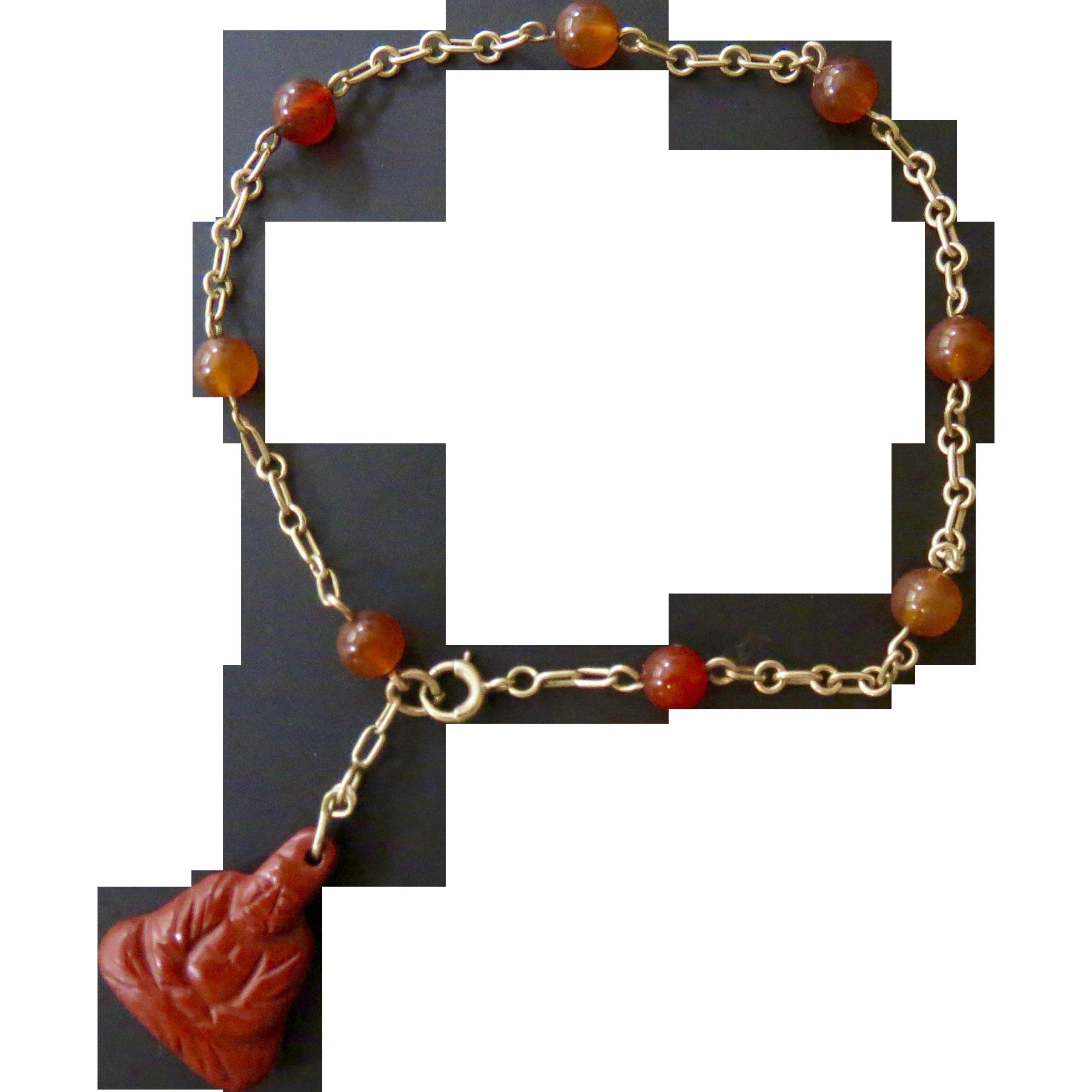 14k Gold Chinese Export Red Jade Buddha Charm Bracelet - Art Deco