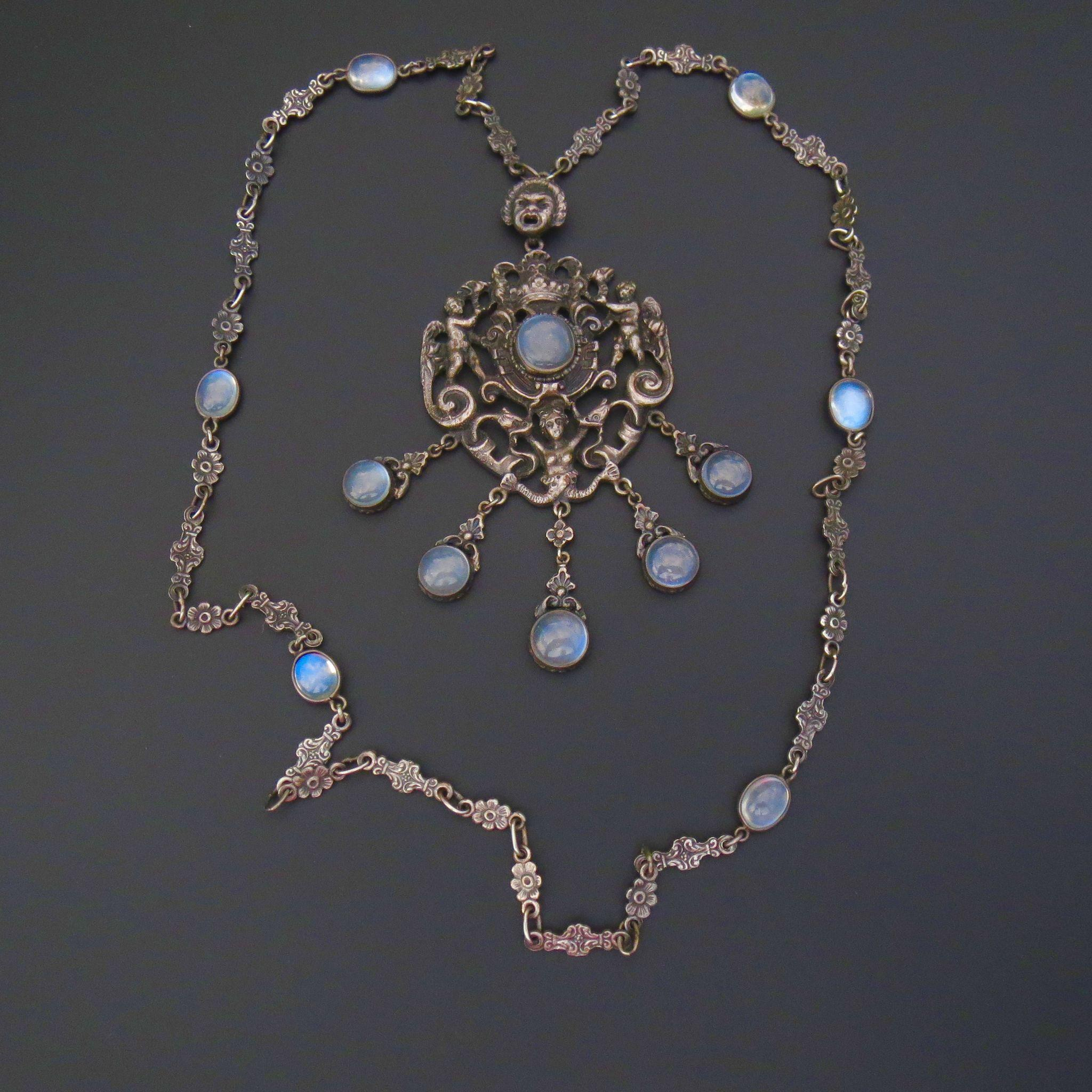 Art Nouveau Moonstone Necklace - Peruzzi - Fine Sterling