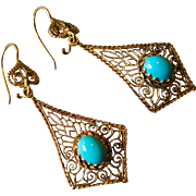 14k Gold Art Deco Filigree and Persian Turquoise Drop Earrings