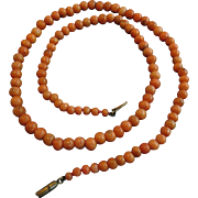 Antique Natural Salmon Coral Bead Necklace