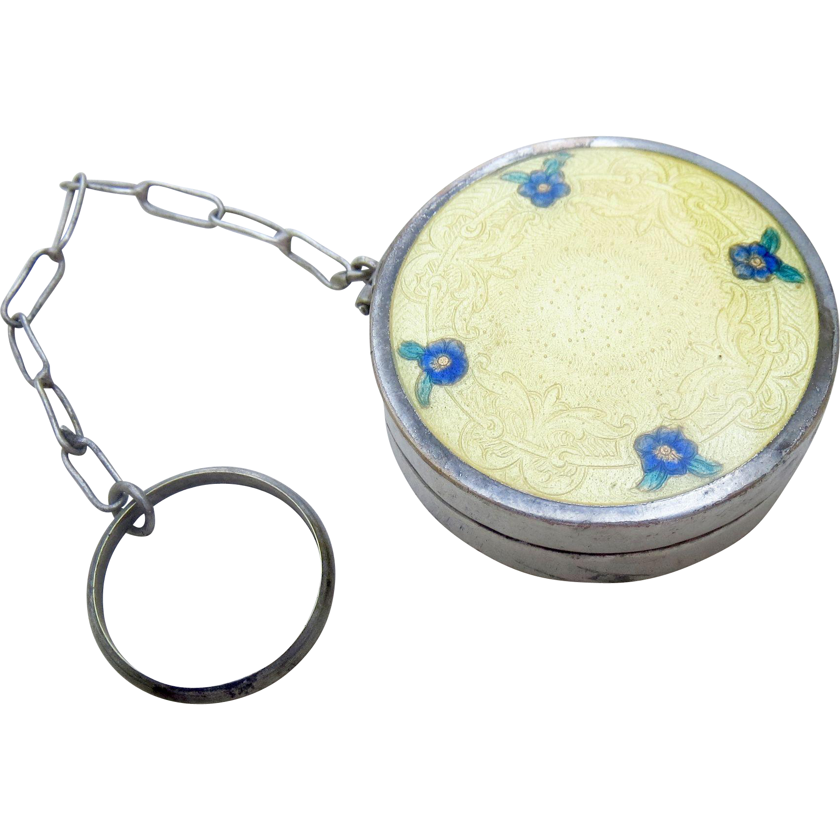 Art Deco Nickel Silver Yellow Guilloche Enamel and Forget-me-Not Flowers Finger Compact
