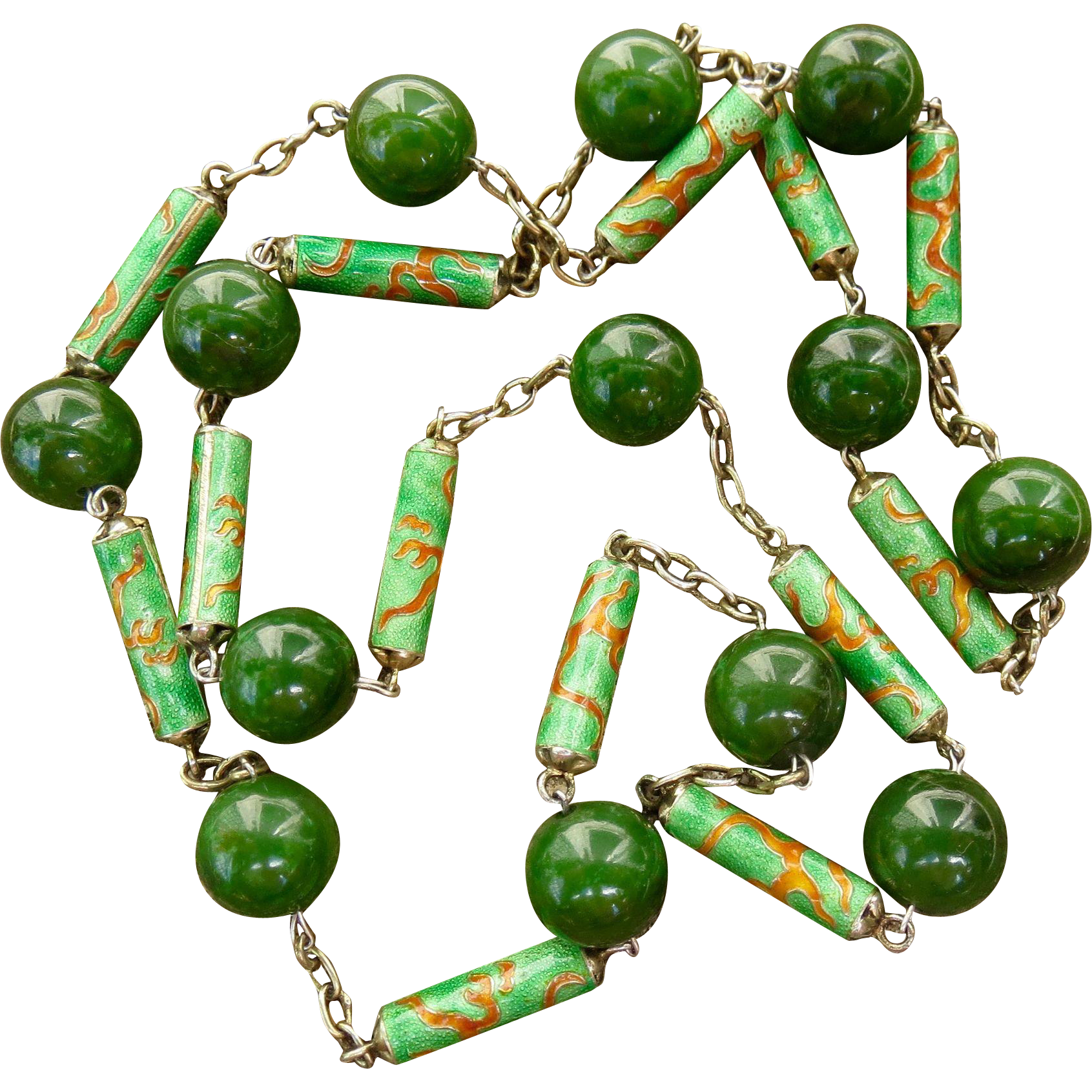 Art Nouveau Chinese Export Jade Sterling Enamel Necklace