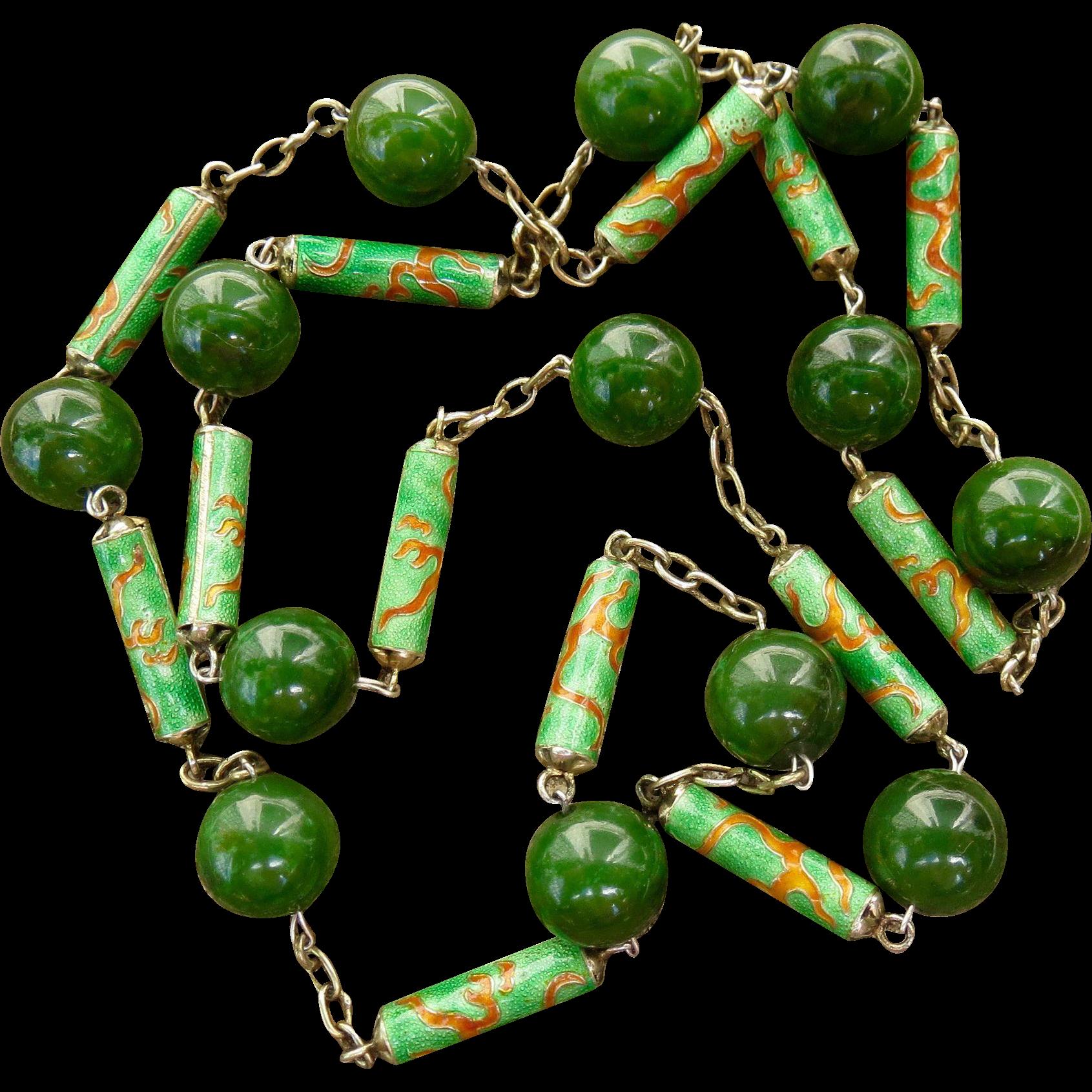Art Nouveau Chinese Export Jade Sterling Enamel Necklace