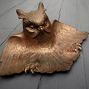 Vintage Cast Iron Owl Ink well