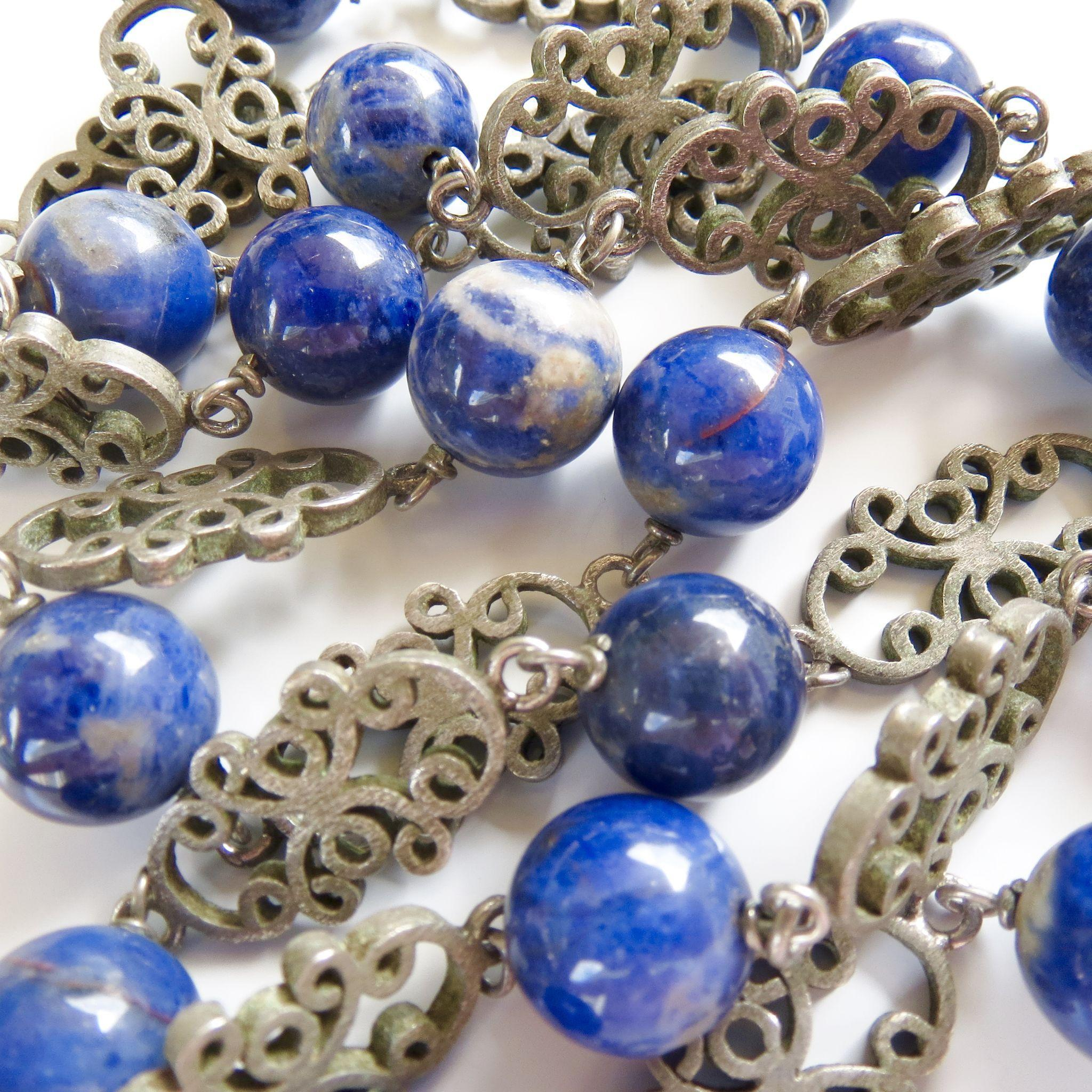 Antique Chinese Export 950 Silver and Sodalite Necklace - Beautiful hand-made!