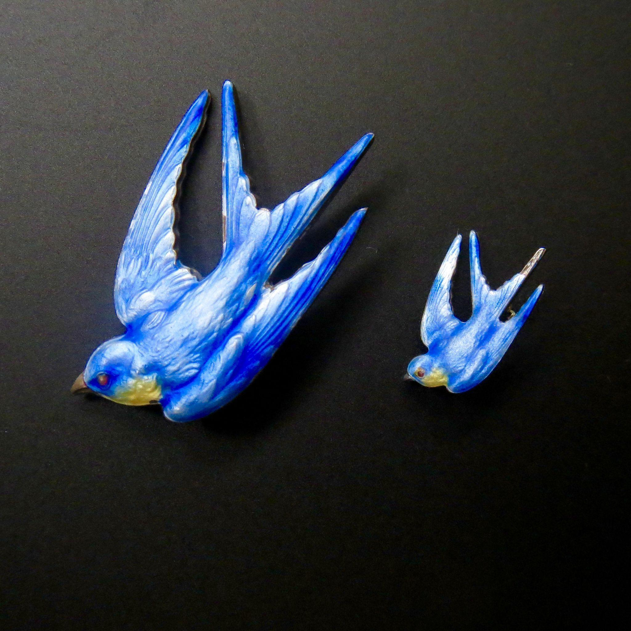 Rare Antique Paye & Baker Sterling Enamel Blue Bird Pin Set - Fully Hallmarked