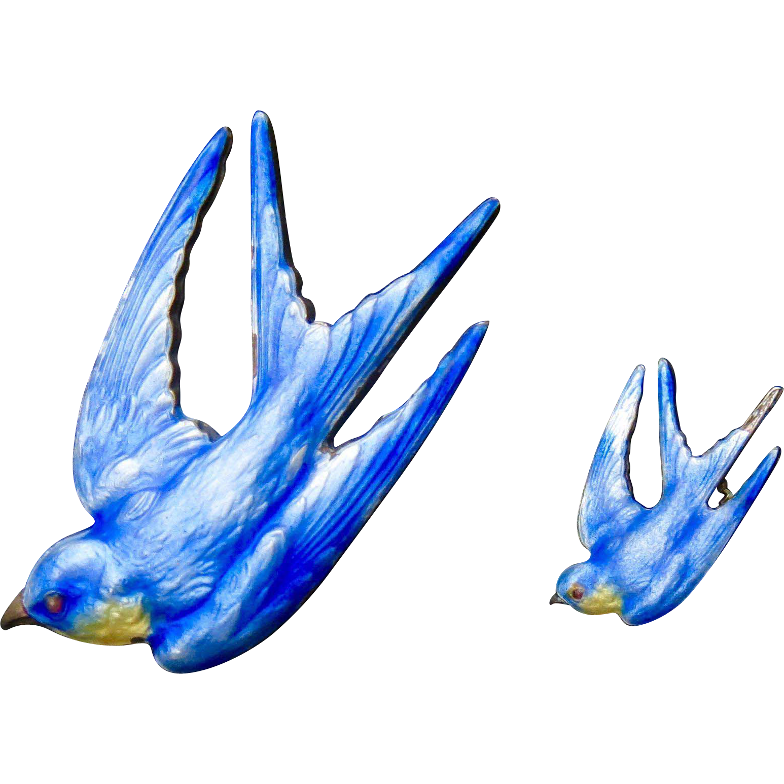 Rare Antique Paye & Baker Sterling Enamel Blue Bird Pin Set - Fully Hallmarked