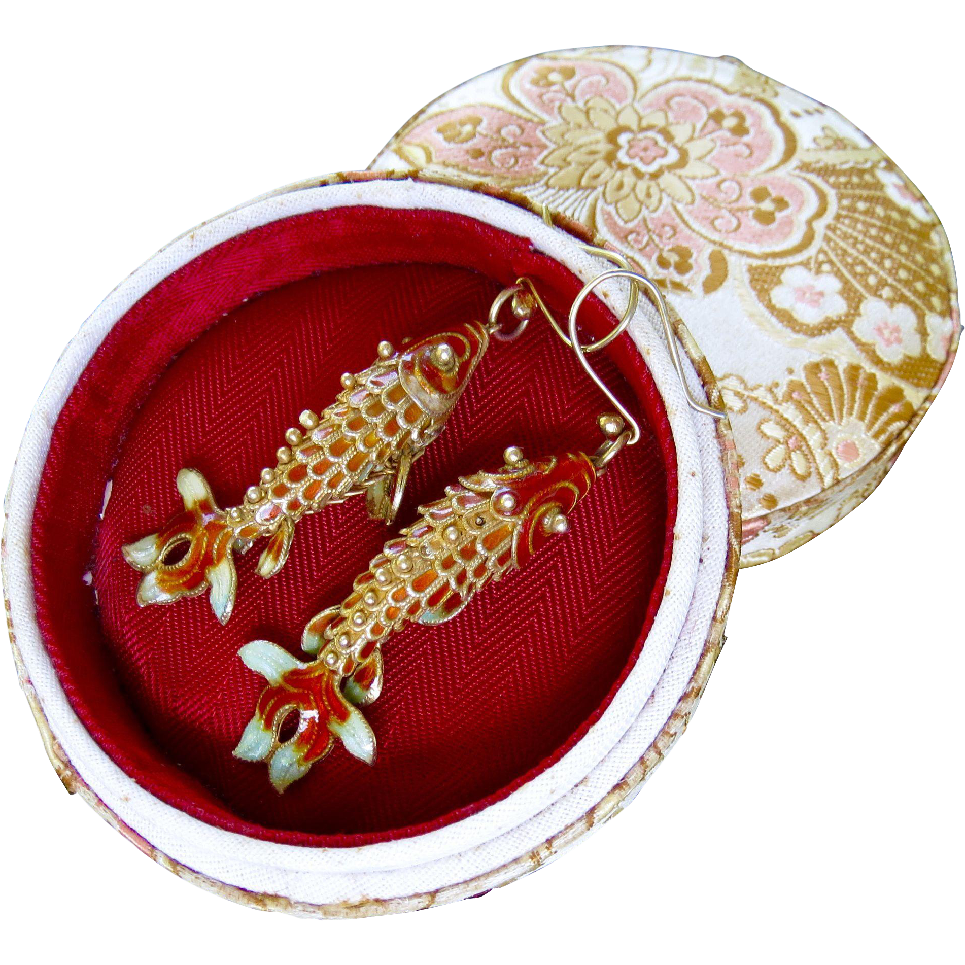 Art Deco Chinese Export Sterling Vermeil Lucky Koi Fish Dangle Earrings - In Original Silk Brocade Box!