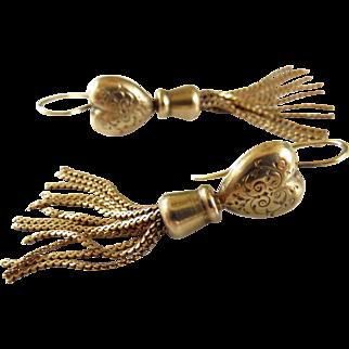 Victorian 9ct Gold Heart Tassel Dangle Drop Earrings