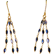 18k Gold Dangling Sapphire Tassel Earrings