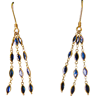 18k Gold Dangling Sapphire Tassel Earrings