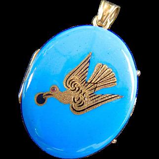Early Victorian 14K Gold Swallow Blue Enamel Locket