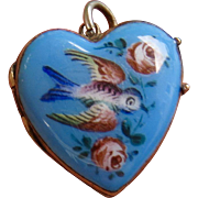 Antique Blue Enamel Puffy Heart Charm with Swooping Swallow and Cabbage Roses