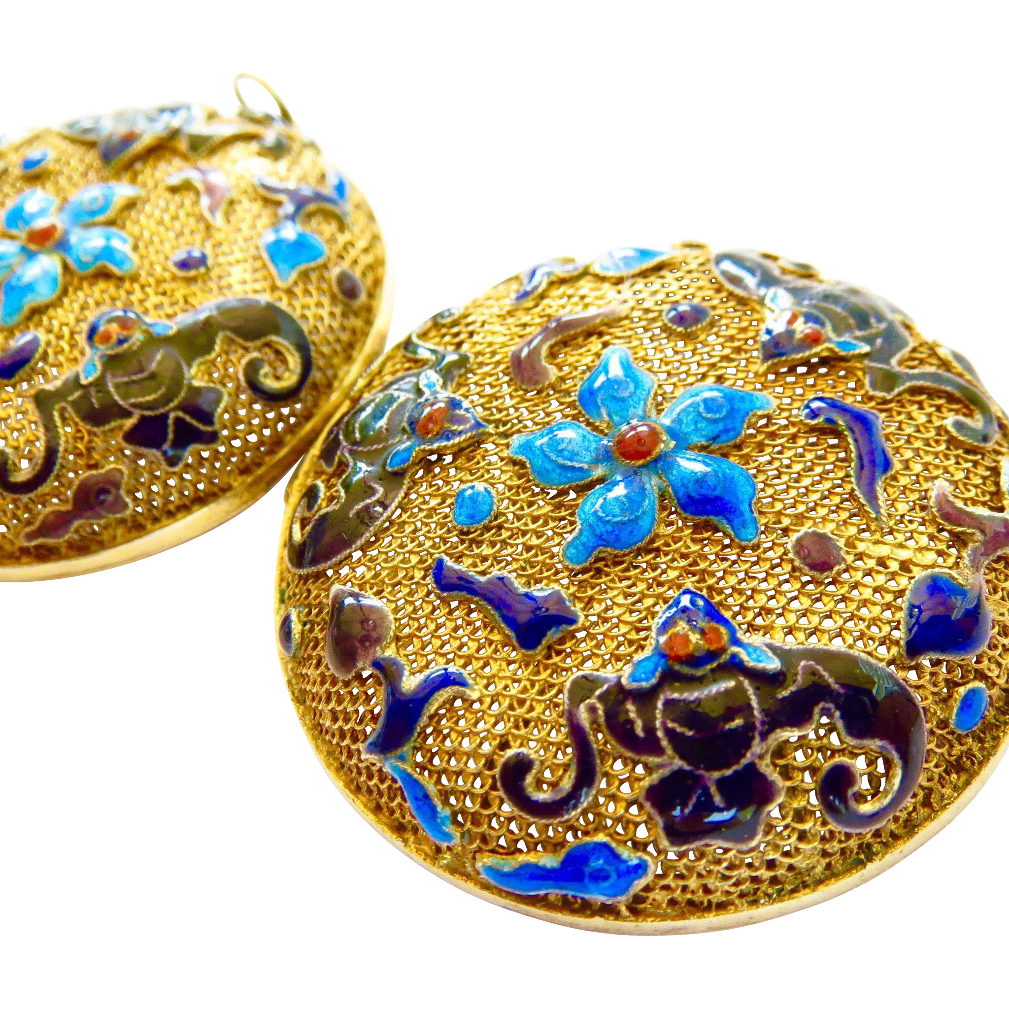 Mint Art Nouveau Sterling Vermeil Chinese Export Lucky Bat Enamel Large Perfume Vinaigrette Locket - MINT