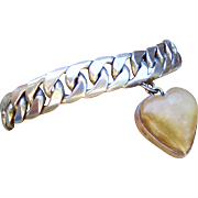 Vintage Early Mexico Sterling Heavy Curb Link Charm Bracelet with Big Puffy Stone Heart - 50 grams