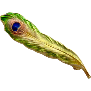 Rare Art Nouveau Krementz Peacock Feather Enamel 14k