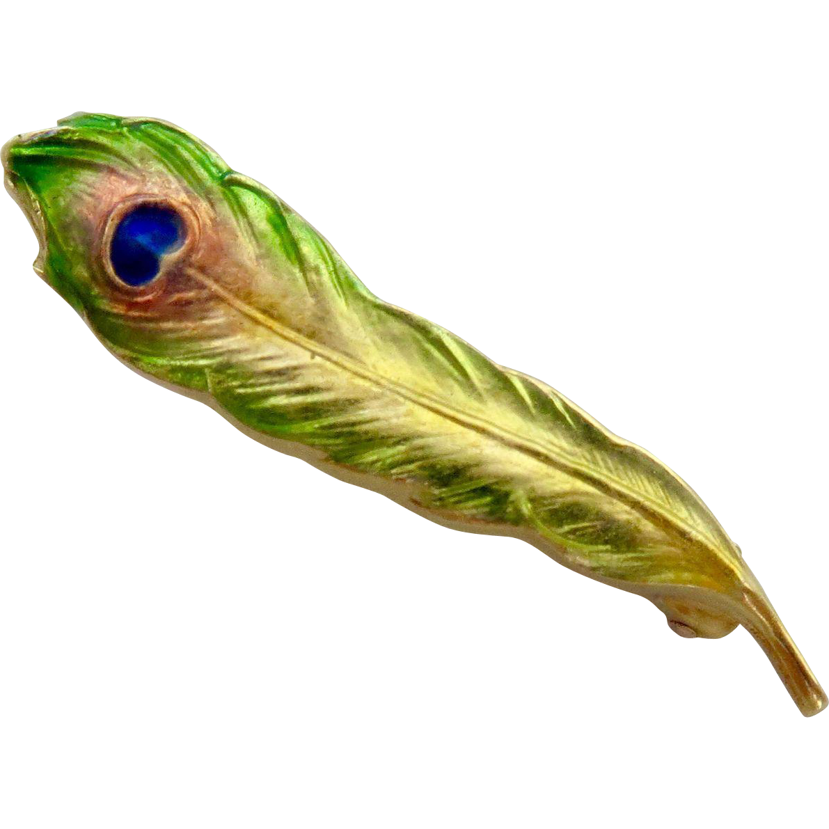 Rare Art Nouveau Krementz Peacock Feather Enamel 14k Lingerie Pin