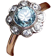 10k Art Deco Blue Zircon and White Natural Zircon Halo Ring