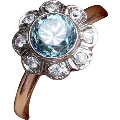 10k Art Deco Blue Zircon and White Natural Zircon Halo Ring