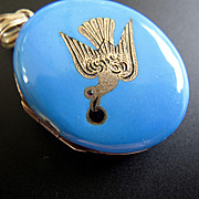 Early Victorian 14K Gold Swallow Robin's Egg Blue Enamel Locket