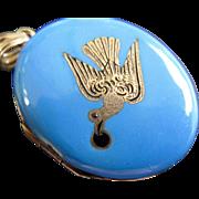 Early Victorian 14K Gold Swallow Robin's Egg Blue Enamel Locket