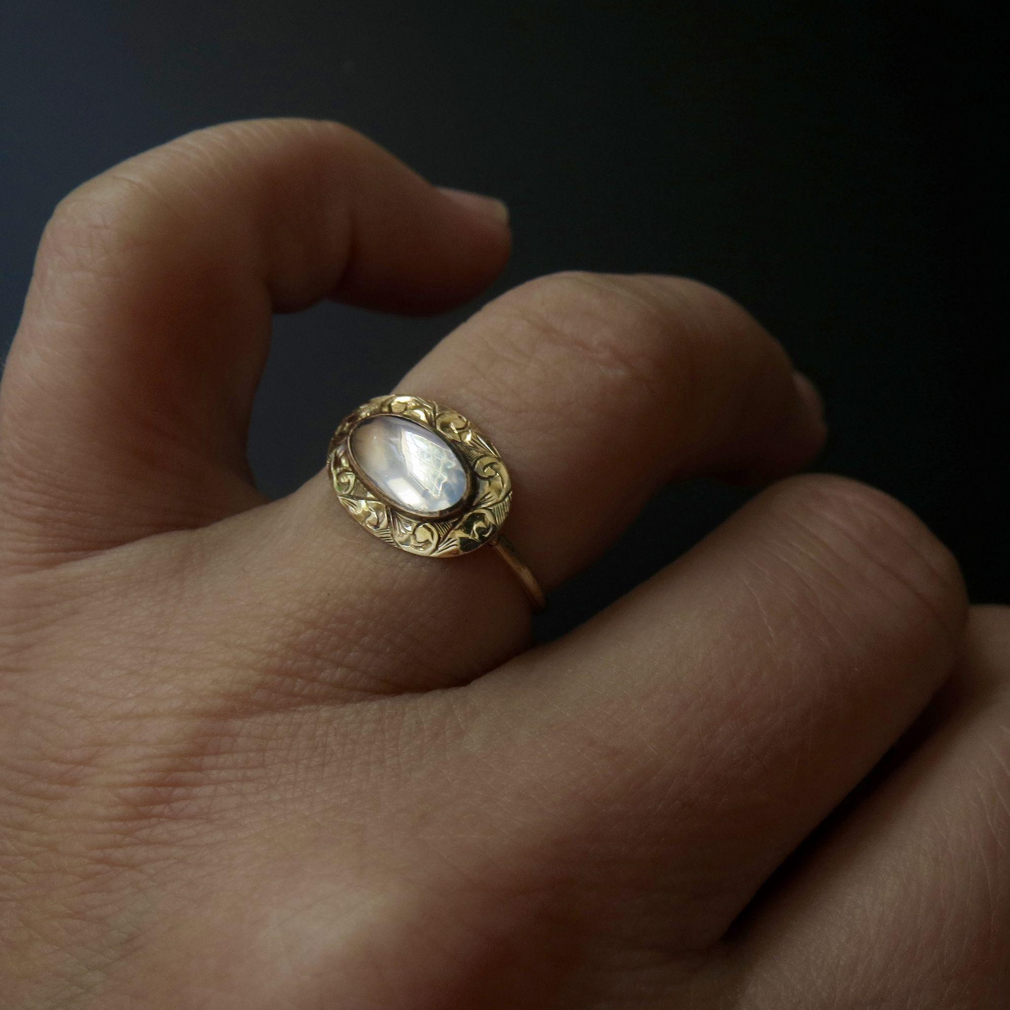 Edwardian 14k Gold Fine Moonstone Ring