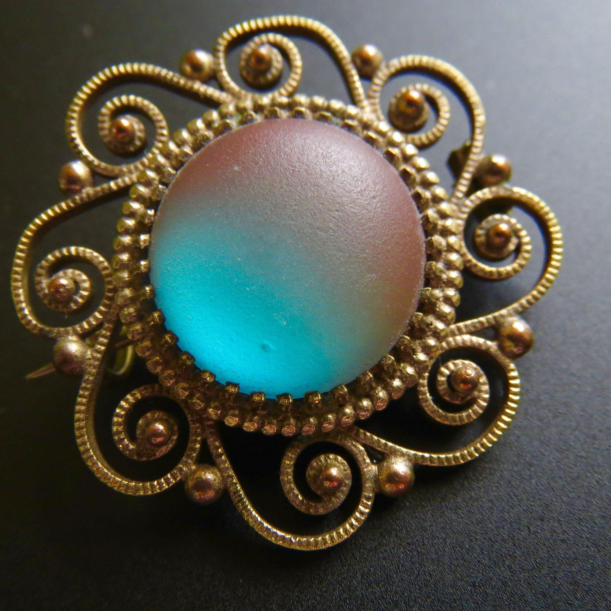 """Rare Large Art Nouveau Saphiret Cannetille Work Brooch Pendant 1.25"""""""