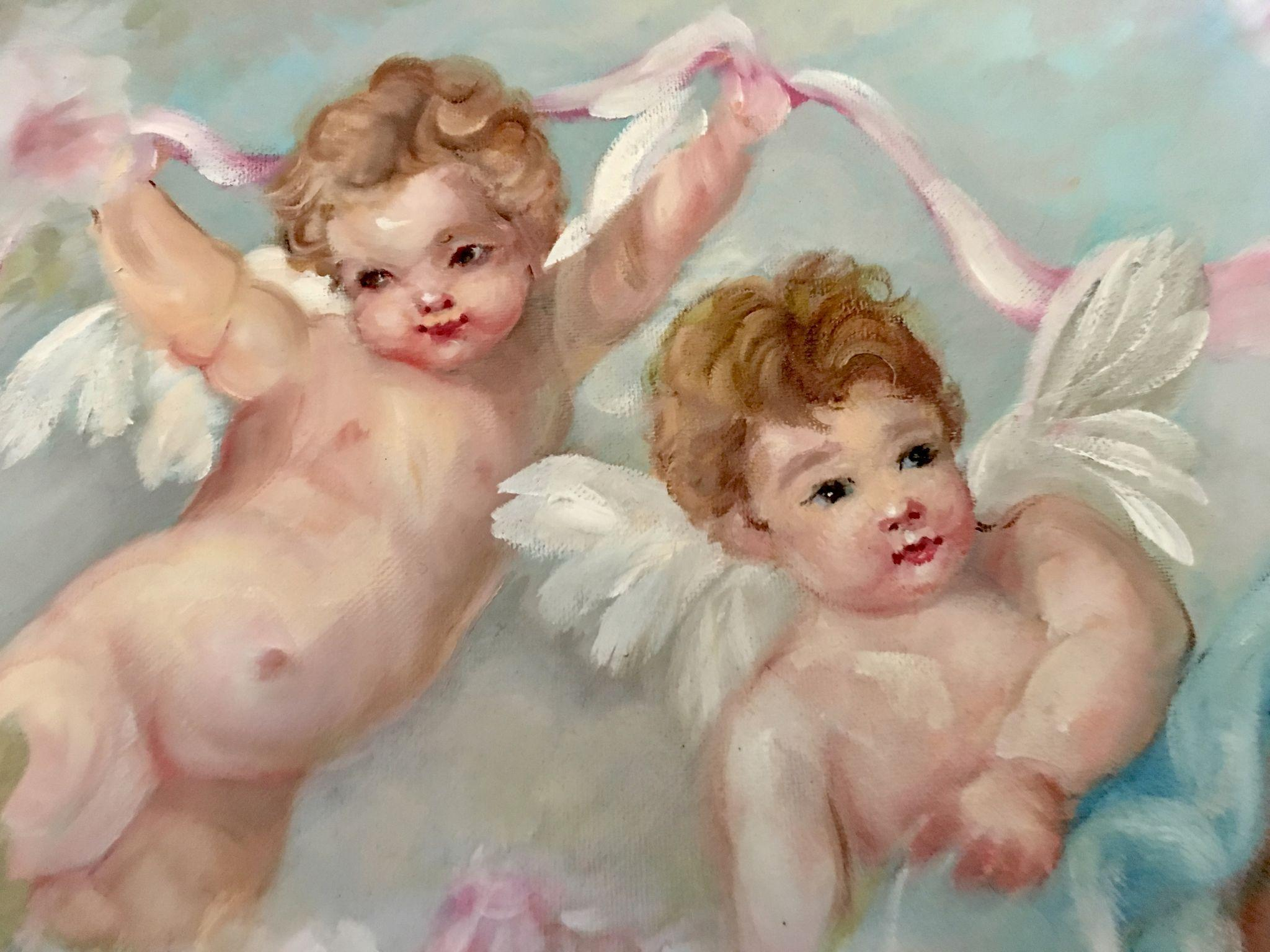 Frolicking Cherubs, Cabbage Roses and Ribbons Hand Painted Canvas Painting