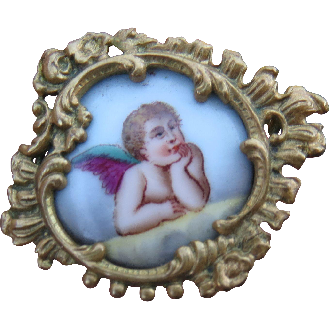 Antique French Hand Painted Cherub Pin for Repair or Rework