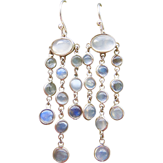 Fine Sterling Moonstone Chandelier Drop Earrings 2.25""