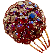 14k Pave Garnet Dome Ring - Mid-Century Mod!