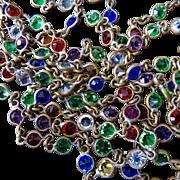 """56"""" Signed Czech Multicolor Petite Paste Guard Chain Flapper Necklace - Bezel Set 5 mm paste stones in Vibrant Colors!"""