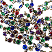 "56"" Signed Czech Multicolor Petite Paste Guard Chain Flapper Necklace - Bezel Set 5 mm paste stones in Vibrant Colors!"